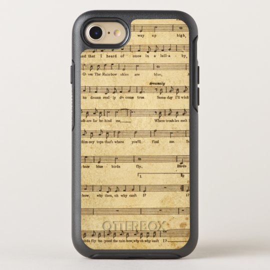 Vintage Sheet Music Notes Aged Cream Coloured OtterBox Symmetry iPhone 8/7 Case