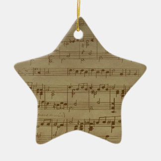 Vintage sheet music pattern ceramic ornament
