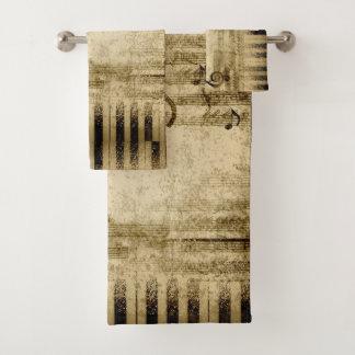 Vintage Sheet Music, Piano Keys Notes Towel Set