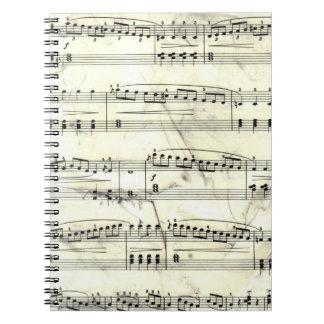 Vintage Sheet Music Rustic Paper Print Spiral Notebook