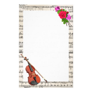 Vintage Sheet Music with Violin and Roses Stationery