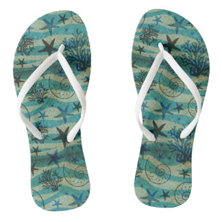 Vintage Shells And Starfish Pattern Flip Flops