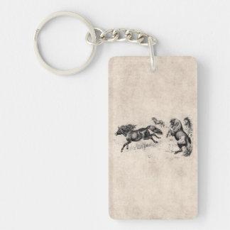 Vintage Shetland Ponies - 1800's Horse and Pony Keychain