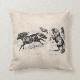 Vintage Shetland Ponies - 1800's Horse and Pony Throw Pillow