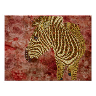 Vintage Shining Star Zebra Poster