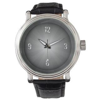 vintage shiny black and white sunburst Men's Watch