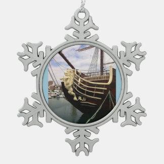 Vintage Ship - Alicante Pewter Snowflake Ornament