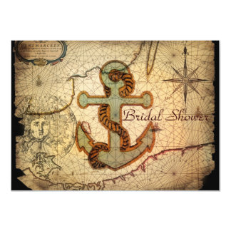 vintage  ship anchor beach wedding bridal shower custom announcements