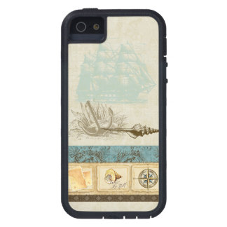 Vintage Ship Anchor Map Compass Rose n Shells Mens iPhone 5 Case