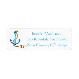 Vintage Ship Anchor Nautical Love - Blue Turquoise Return Address Label