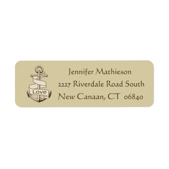 Vintage Ship Anchor Nautical Love - Brown / Tan Return Address Label