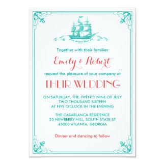 "Vintage Ship Anchor Wedding Invitation Teal Coral 5"" X 7"" Invitation Card"