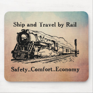 Vintage Ship and Travel By Rail Mouse Pad