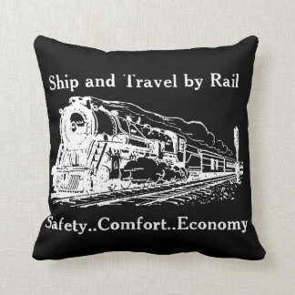 Vintage Ship and Travel By Rail Throw Pillow