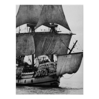 Vintage Ship Black and White Poster