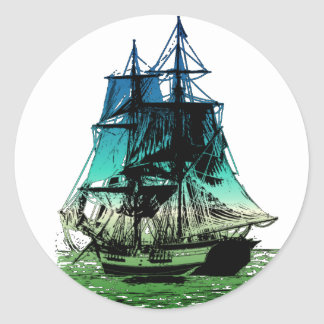 Vintage Ship Classic Round Sticker