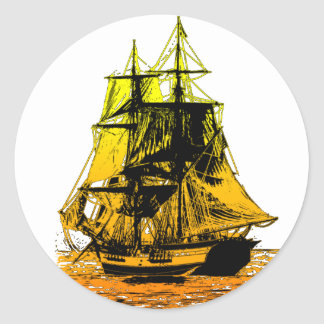 Vintage Ship Classic Round Sticker