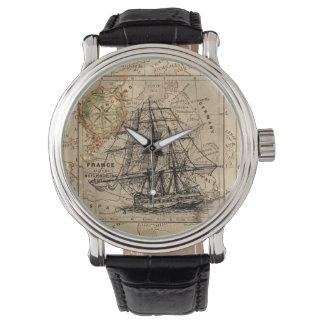Vintage Ship Leather Strap Watch