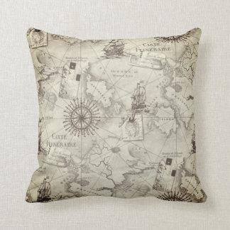 Vintage Ship Navigator Map Throw Pillow