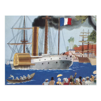 Vintage Ship Sail Cargo French Port Harbor Brandy Postcard