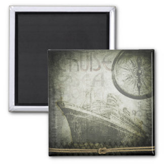Vintage Ship Wind Rose Art Magnet