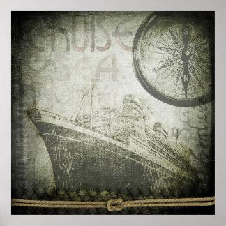 Vintage Ship Wind Rose Art Poster