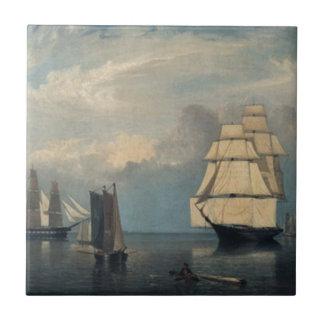 Vintage ships Salem Harbor Tile