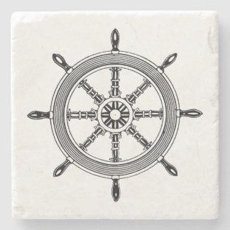 Vintage Ships Wheel Nautical Stone Coaster