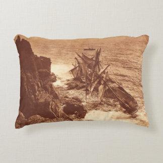 Vintage Shipwreck - Sailing Ship Antique Photo Decorative Pillow