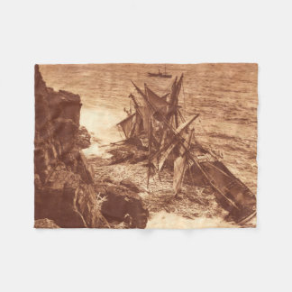 Vintage Shipwreck - Sailing Ship Antique Photo Fleece Blanket