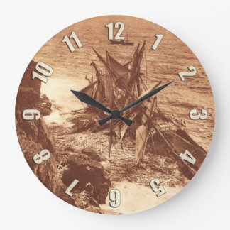 Vintage Shipwreck - Sailing Ship Antique Photo Large Clock