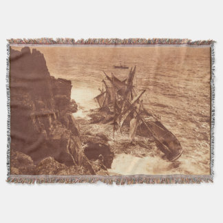 Vintage Shipwreck - Sailing Ship Antique Photo Throw Blanket