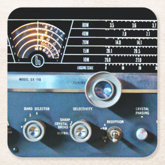 Vintage Short Wave Radio Receiver Square Paper Coaster