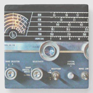 Vintage Short Wave Radio Receiver Stone Coaster