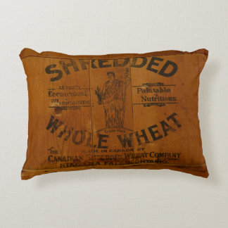 Vintage Shredded Wheat Pine Shipping Crate Ad Decorative Pillow
