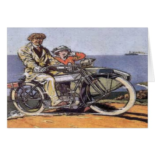 Vintage Sidecar Mortorcycle Card