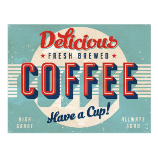 Vintage sign - Fresh Brewed Coffee Postcard