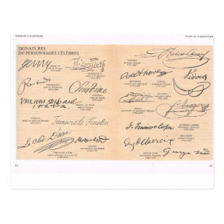 Vintage Signatures of Famous People Postcard