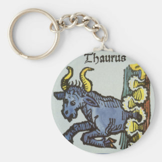Vintage Signs of the Zodiac, Antique Taurus Bull Basic Round Button Keychain