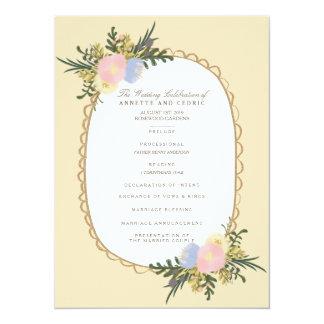 Vintage Silhouette Floral Wedding Program Card