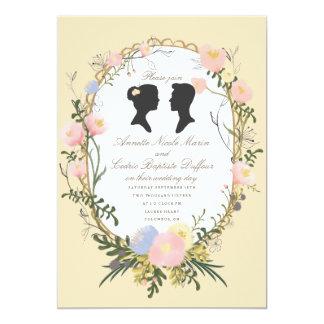 Vintage Silhouette Spring Floral Wedding Card