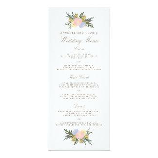 Vintage Silhouette Spring Floral Wedding Menu Card