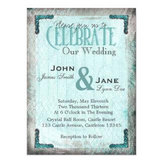 Vintage, Silver and Blue Wedding Invitation