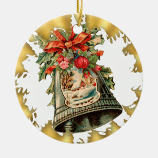 Vintage Silver Bells Ceramic Christmas Ornament