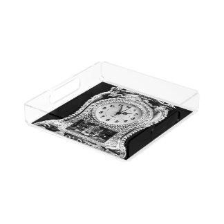 Vintage Silver Clock Acrylic Tray