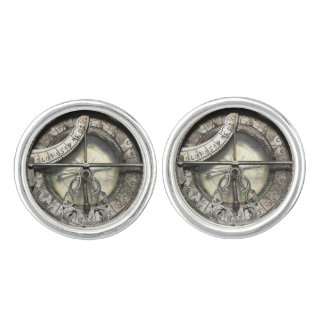 Vintage Silver Compass image pewter Cuff Links