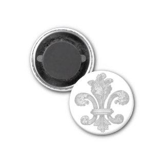 Vintage silver Fleur de lis round magnet
