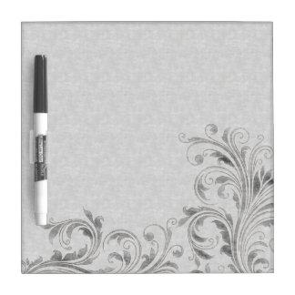 Vintage Silver Floral Damask Dry-Erase Whiteboards