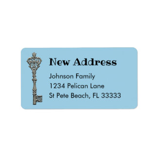 Vintage Silver Key Blue New Address Label
