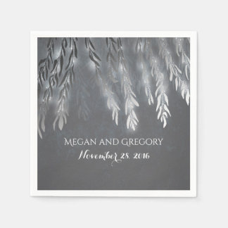 Vintage Silver Willow Tree Branches Wedding Paper Napkin